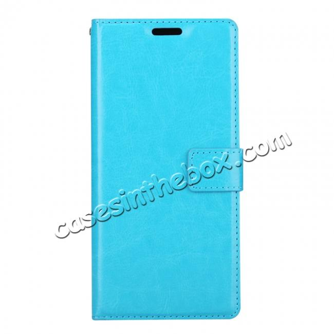 discount Crazy Horse PU Leather Case Flip Card Slot Wallet For Samsung Galaxy Note 8 - Light Blue