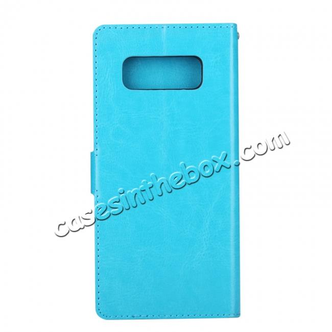 cheap Crazy Horse PU Leather Case Flip Card Slot Wallet For Samsung Galaxy Note 8 - Light Blue