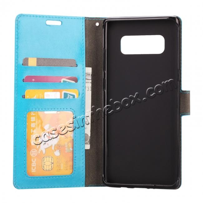 top quality Crazy Horse PU Leather Case Flip Card Slot Wallet For Samsung Galaxy Note 8 - Light Blue