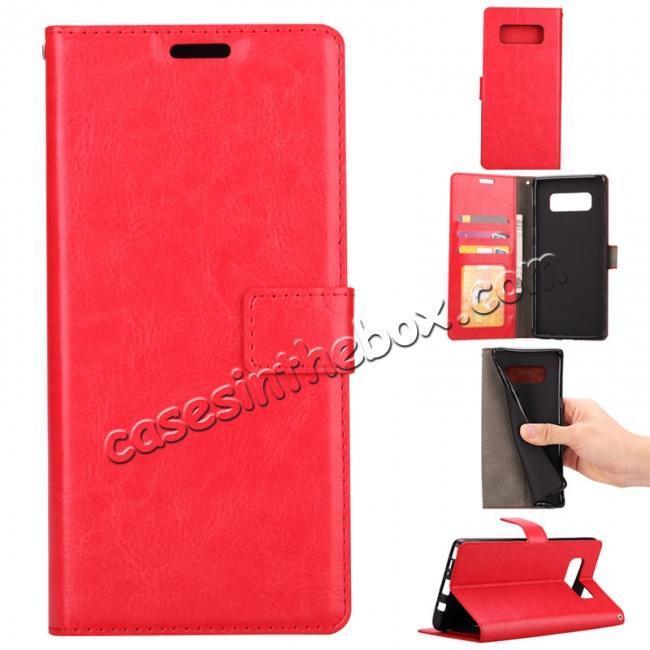 wholesale Crazy Horse PU Leather Case Flip Card Slot Wallet For Samsung Galaxy Note 8 - Red