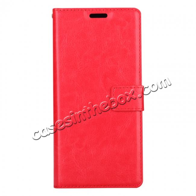 discount Crazy Horse PU Leather Case Flip Card Slot Wallet For Samsung Galaxy Note 8 - Red