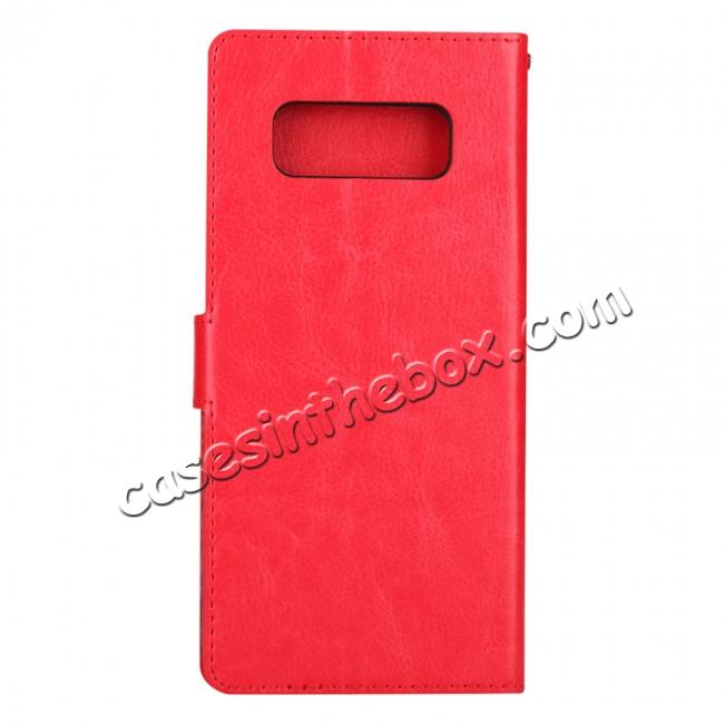 cheap Crazy Horse PU Leather Case Flip Card Slot Wallet For Samsung Galaxy Note 8 - Red