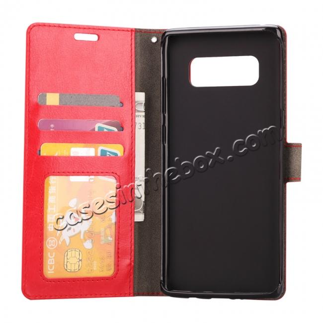 top quality Crazy Horse PU Leather Case Flip Card Slot Wallet For Samsung Galaxy Note 8 - Red
