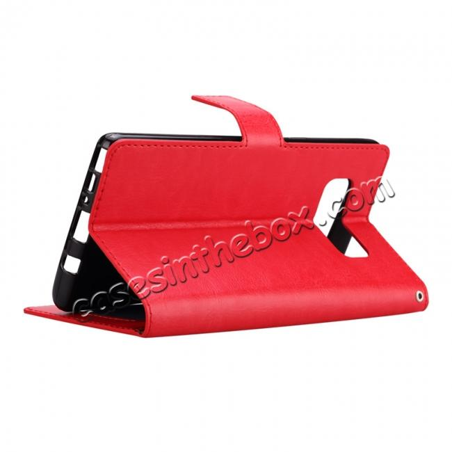 best price Crazy Horse PU Leather Case Flip Card Slot Wallet For Samsung Galaxy Note 8 - Red