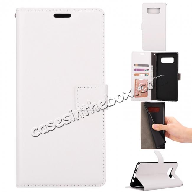 wholesale Crazy Horse PU Leather Case Flip Card Slot Wallet For Samsung Galaxy Note 8 - White
