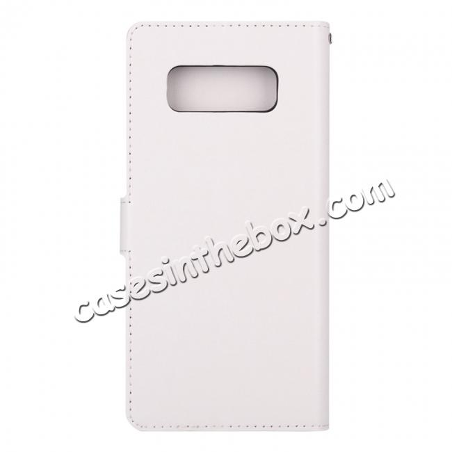 cheap Crazy Horse PU Leather Case Flip Card Slot Wallet For Samsung Galaxy Note 8 - White