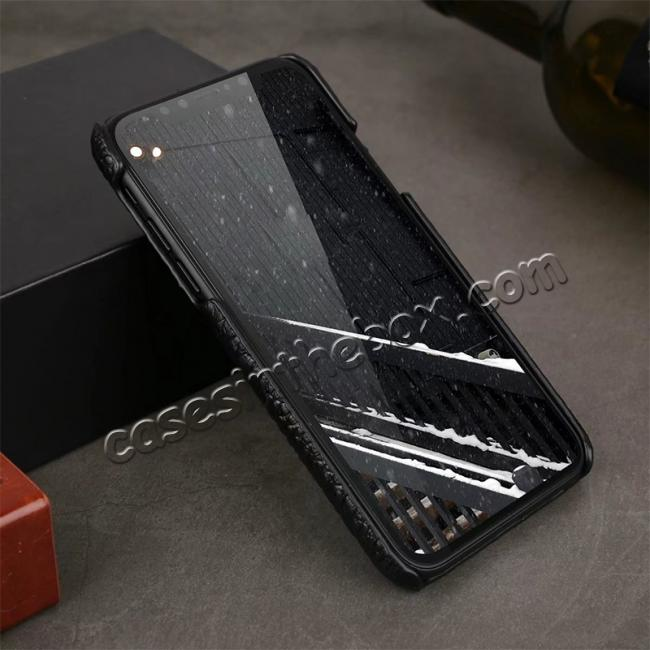 discount Crocodile Head Pattern Genuine Leather Back Case for iPhone X - Black
