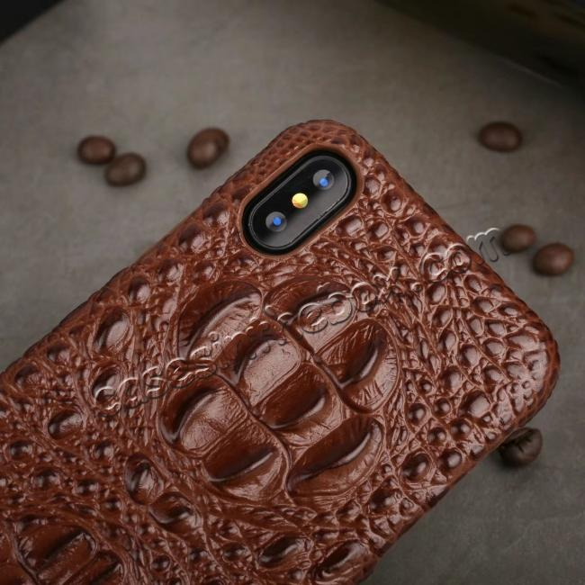 cheap Crocodile Head Pattern Genuine Leather Back Case for iPhone X - Brown