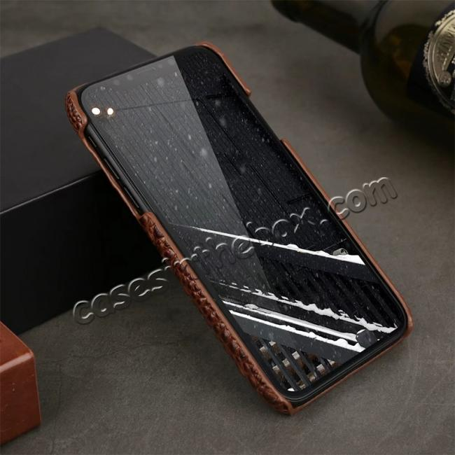 discount Crocodile Head Pattern Genuine Leather Back Case for iPhone X - Brown