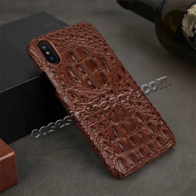 wholesale Crocodile Head Pattern Genuine Leather Back Case for iPhone X - Brown