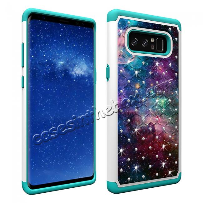 cheap Crystal Bling Design Hybrid Armor Protective Case Cover For Samsung Galaxy Note 8 - Nebula