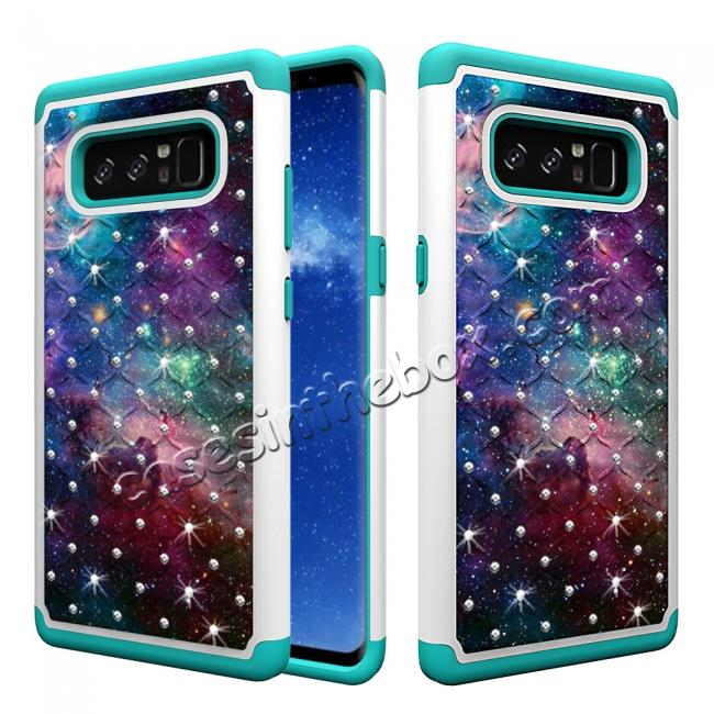 wholesale Crystal Bling Design Hybrid Armor Protective Case Cover For Samsung Galaxy Note 8 - Nebula