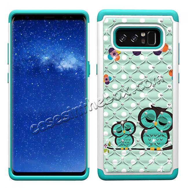 discount Crystal Bling Design Hybrid Armor Protective Case Cover For Samsung Galaxy Note 8 - Owl