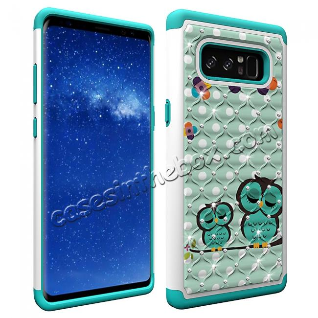 cheap Crystal Bling Design Hybrid Armor Protective Case Cover For Samsung Galaxy Note 8 - Owl