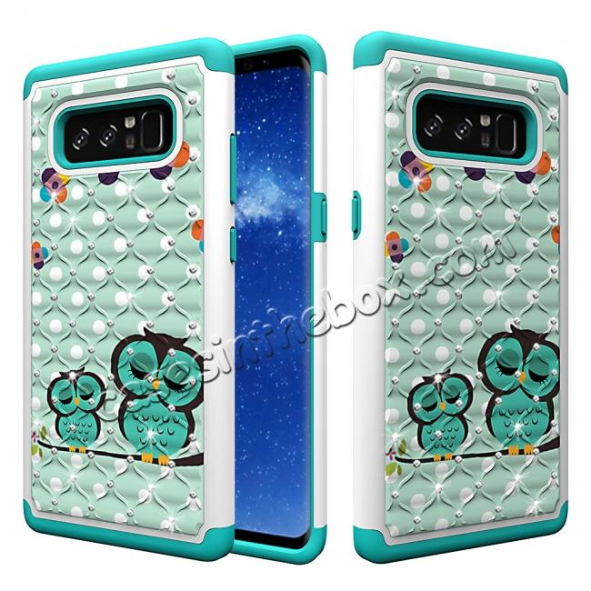 wholesale Crystal Bling Design Hybrid Armor Protective Case Cover For Samsung Galaxy Note 8 - Owl