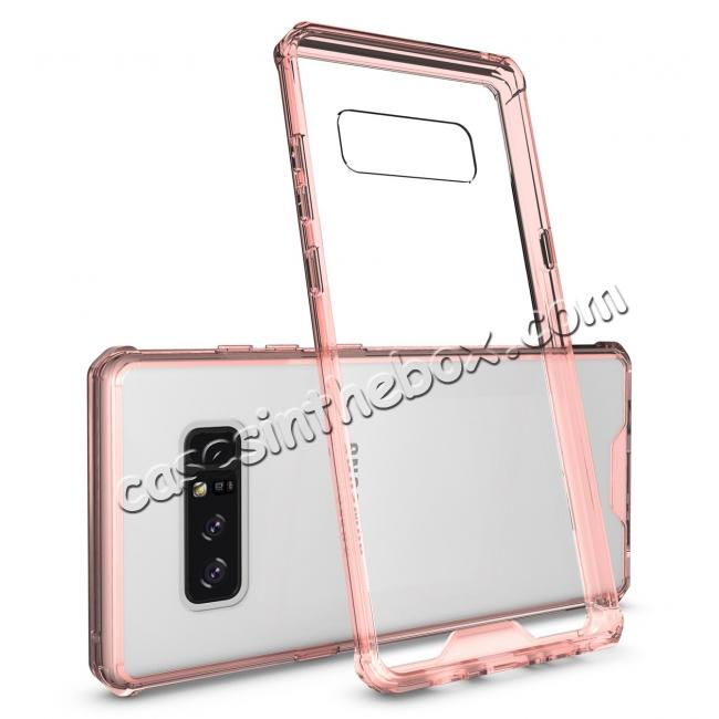 wholesale Crystal Clear Hard Back Hybrid TPU Bumper Protective Case For Samsung Galaxy Note 8 - Rose gold
