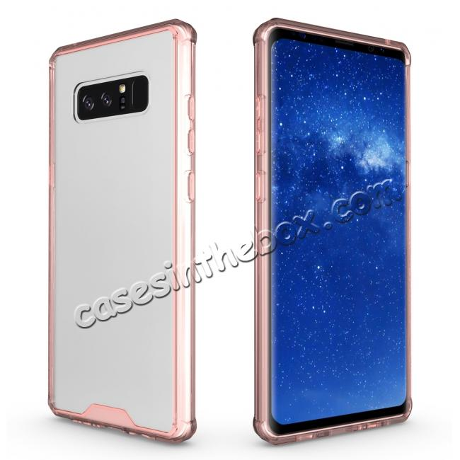 top quality Crystal Clear Hard Back Hybrid TPU Bumper Protective Case For Samsung Galaxy Note 8 - Rose gold