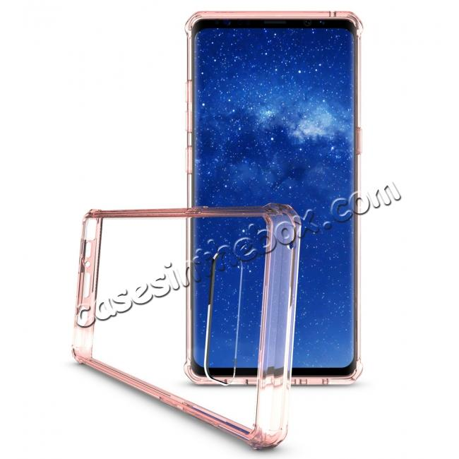 best price Crystal Clear Hard Back Hybrid TPU Bumper Protective Case For Samsung Galaxy Note 8 - Rose gold