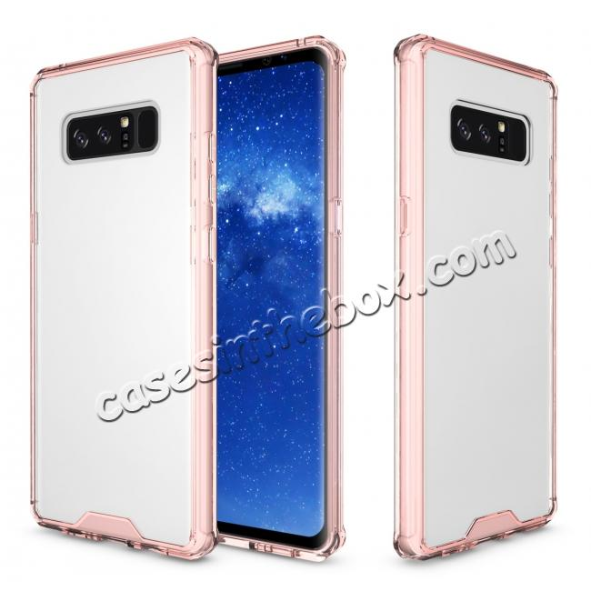 on sale Crystal Clear Hard Back Hybrid TPU Bumper Protective Case For Samsung Galaxy Note 8 - Rose gold