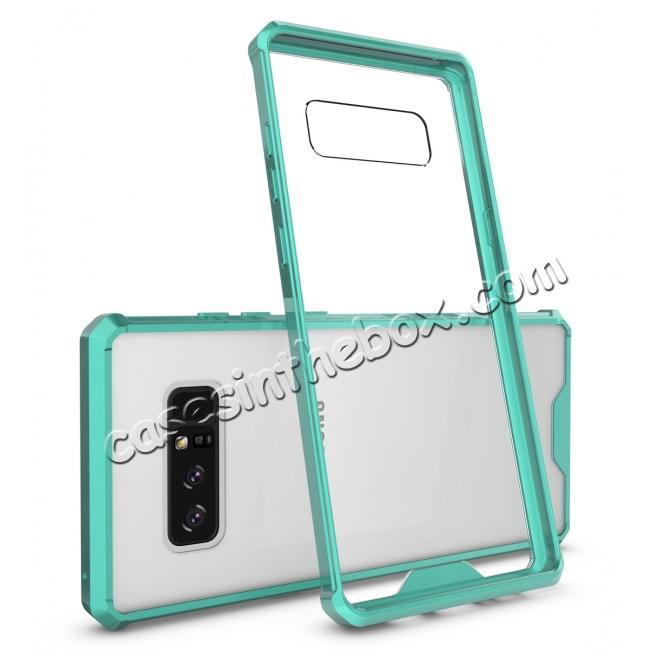 wholesale Crystal Clear Hard Back Hybrid TPU Bumper Protective Case For Samsung Galaxy Note 8 - Teal