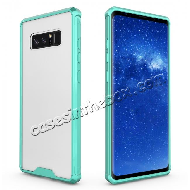 discount Crystal Clear Hard Back Hybrid TPU Bumper Protective Case For Samsung Galaxy Note 8 - Teal
