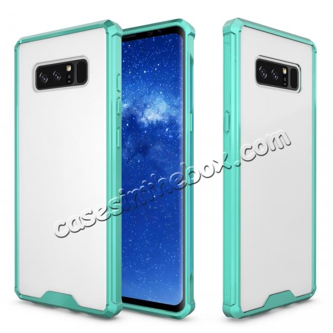 cheap Crystal Clear Hard Back Hybrid TPU Bumper Protective Case For Samsung Galaxy Note 8 - Teal