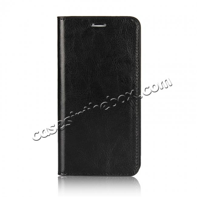 discount Genuine Leather Card Slots Crazy Horse Grain Case for iPhone X - Black