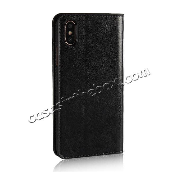 cheap Genuine Leather Card Slots Crazy Horse Grain Case for iPhone X - Black