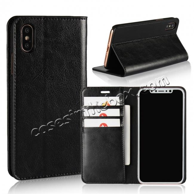 wholesale Genuine Leather Card Slots Crazy Horse Grain Case for iPhone X - Black