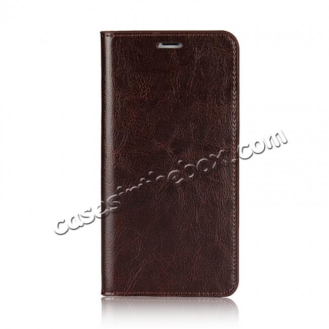 discount Genuine Leather Card Slots Crazy Horse Grain Case for iPhone X - Coffee