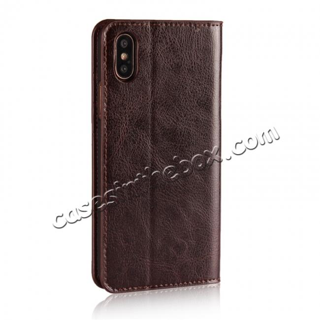 cheap Genuine Leather Card Slots Crazy Horse Grain Case for iPhone X - Coffee