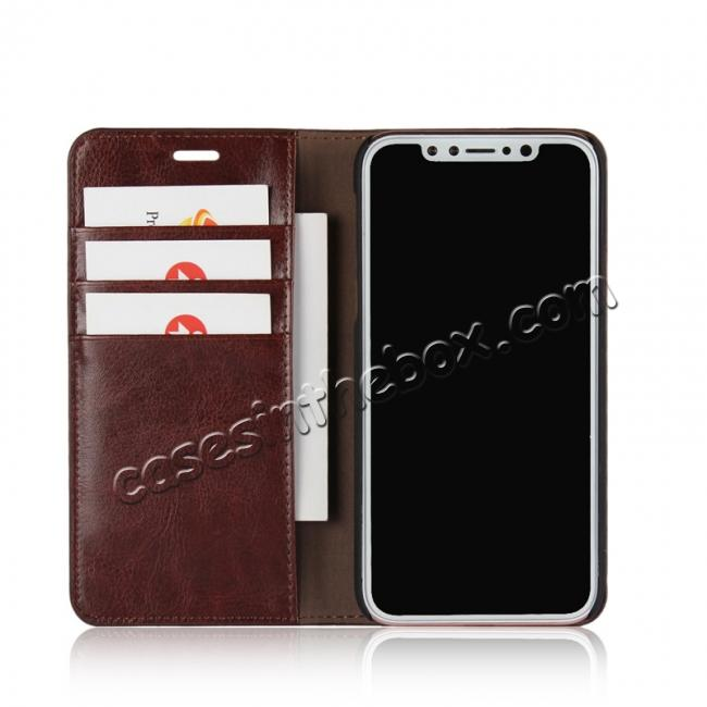 best price Genuine Leather Card Slots Crazy Horse Grain Case for iPhone X - Coffee