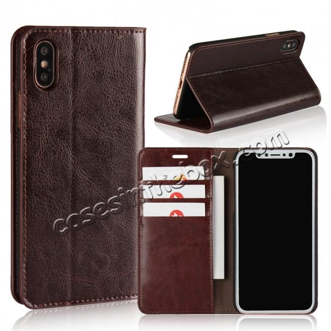 wholesale Genuine Leather Card Slots Crazy Horse Grain Case for iPhone X - Coffee