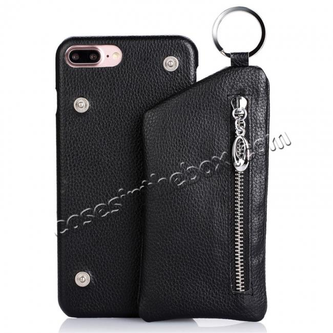 wholesale Genuine Leather Dual Zipper Wallet Holder Case Cover For iPhone 7 - Black