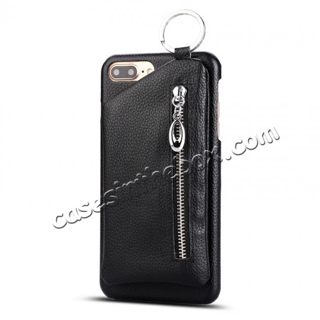 discount Genuine Leather Dual Zipper Wallet Holder Case Cover For iPhone 7 - Black