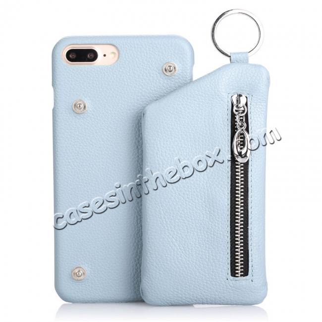 wholesale Genuine Leather Dual Zipper Wallet Holder Case Cover For iPhone 7 - Light Blue