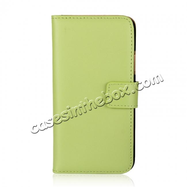 discount Genuine Leather Flip Wallet Case Cover Card Holder For iPhone X - Green