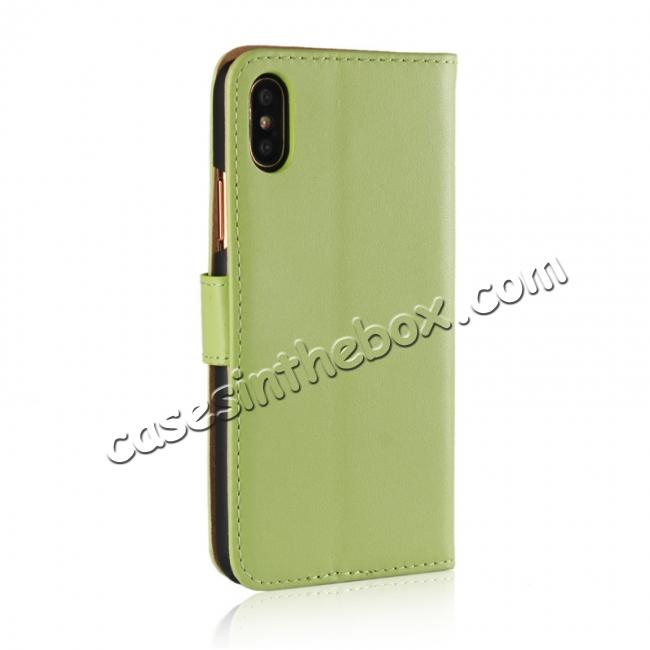 cheap Genuine Leather Flip Wallet Case Cover Card Holder For iPhone X - Green