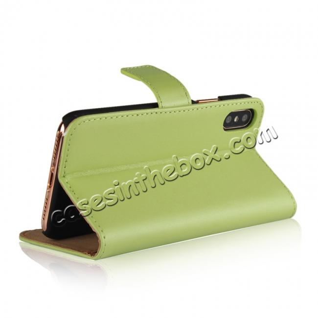 top quality Genuine Leather Flip Wallet Case Cover Card Holder For iPhone X - Green