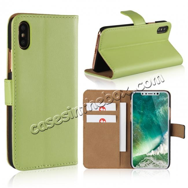 wholesale Genuine Leather Flip Wallet Case Cover Card Holder For iPhone X - Green