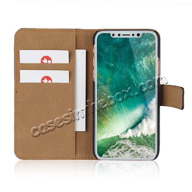 best price Genuine Leather Flip Wallet Case Cover Card Holder For iPhone X - Green