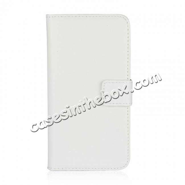 discount Genuine Leather Flip Wallet Case Cover Card Holder For iPhone X - White
