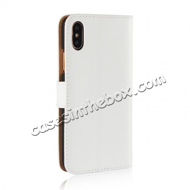 cheap Genuine Leather Flip Wallet Case Cover Card Holder For iPhone X - White