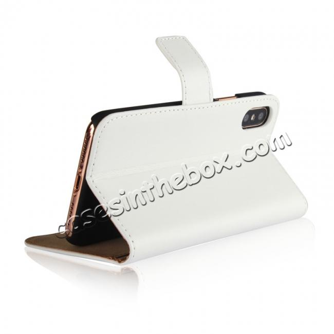 best price Genuine Leather Flip Wallet Case Cover Card Holder For iPhone X - White