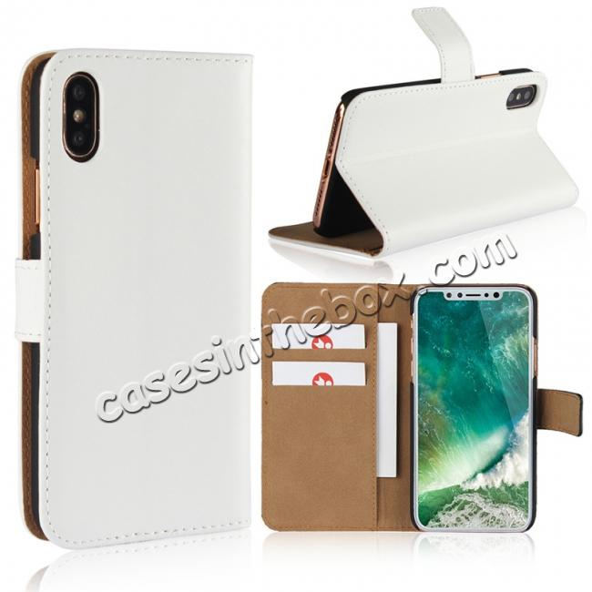wholesale Genuine Leather Flip Wallet Case Cover Card Holder For iPhone X - White