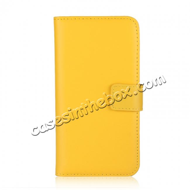 discount Genuine Leather Flip Wallet Case Cover Card Holder For iPhone X - Yellow