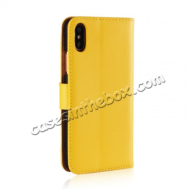 cheap Genuine Leather Flip Wallet Case Cover Card Holder For iPhone X - Yellow