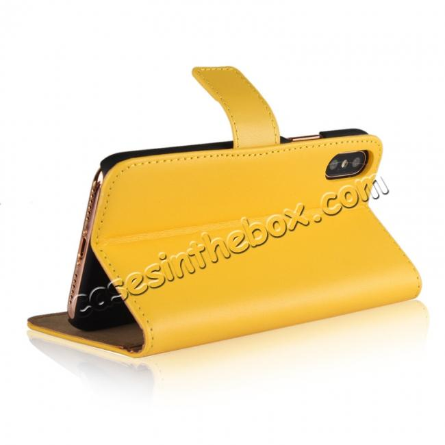 best price Genuine Leather Flip Wallet Case Cover Card Holder For iPhone X - Yellow