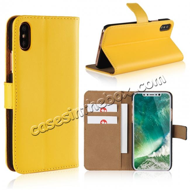 wholesale Genuine Leather Flip Wallet Case Cover Card Holder For iPhone X - Yellow