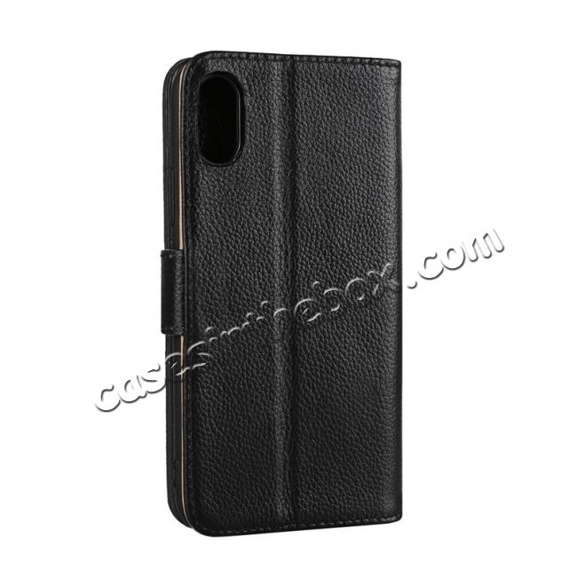 cheap Genuine Leather Wallet Card Holder Flip Stand Case for iPhone X - Black